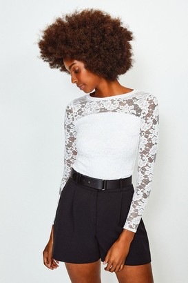 Karen Millen Lace Long Sleeve Jersey Top