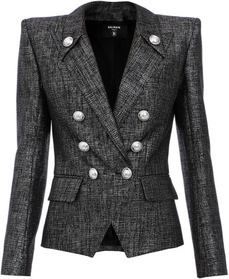 Balmain Metallic Wool-Blend Tweed Blazer
