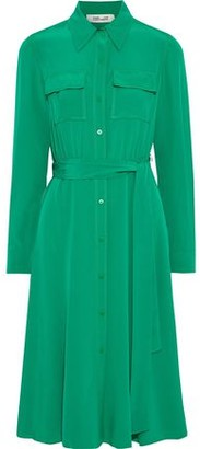 Diane von Furstenberg Antonette Belted Silk Crepe De Chine Shirt Dress