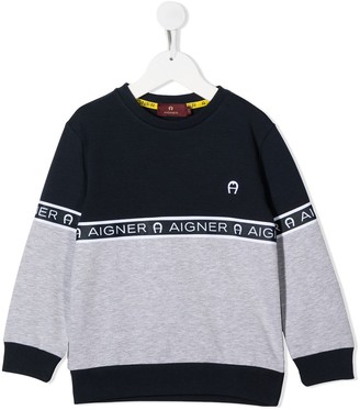 Aigner Kids Logo Band Colour-Block Sweatshirt