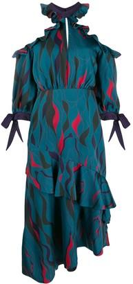 Three floor Corsica printed ruffle dress