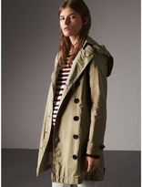 Burberry Taffeta Trench Coat with Detachable Hood , Size: 14, Beige
