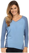 TWO by Vince Camuto V-Neck Mixed Media Saturday Shirt