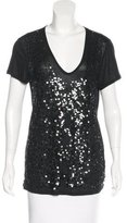 Tory Burch Sequined V-Neck T-Shirt