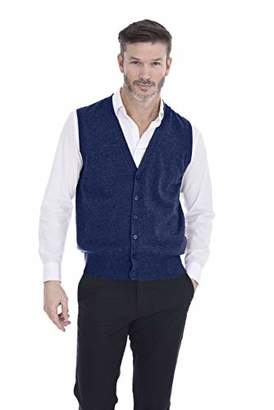Cashmeren Button Down Vest Cable Knit 100% Pure Cashmere V-Neck Sleeveless Cardigan for Men (