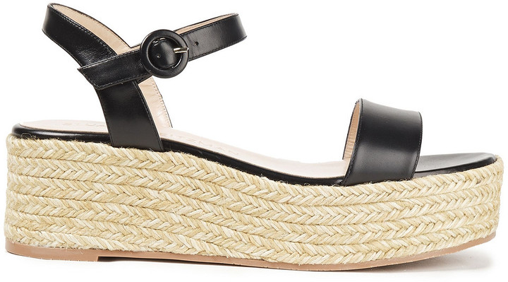 Stuart Weitzman Taborah Leather Platform Espadrille Sandals