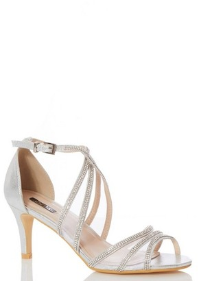 Dorothy Perkins Womens Quiz Silver Diamante Mid Heel Sandals, Silver