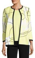Misook 3/4-Sleeve Wild Abstract-Print Open Jacket, Daiquiri Green