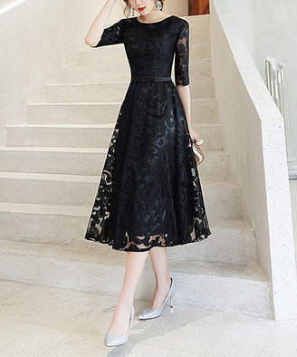 Vicky And Lucas Vicky and Lucas Women's Casual Dresses BLACK - Black Lace-Overlay Midi Dress - Women