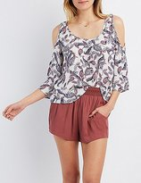 Charlotte Russe Paisley Cold Shoulder Top