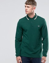 Fred Perry Polo Shirt With Long Sleeves In Ivy