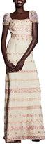 Alexandra Vidal Embroidered Georgette Cap-Sleeve Gown, Beige