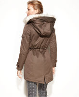 Laundry by Shelli Segal Coat, Hooded Faux-Fur-Trim Puffer