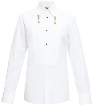 Dolce & Gabbana Crystal Pendant Cotton-poplin Shirt - Womens - White