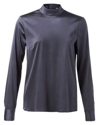 Ya-Ya Stretch Shiny Blouse - 34 - Blue