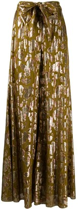 L'Autre Chose Abstract-Print Flared Trousers