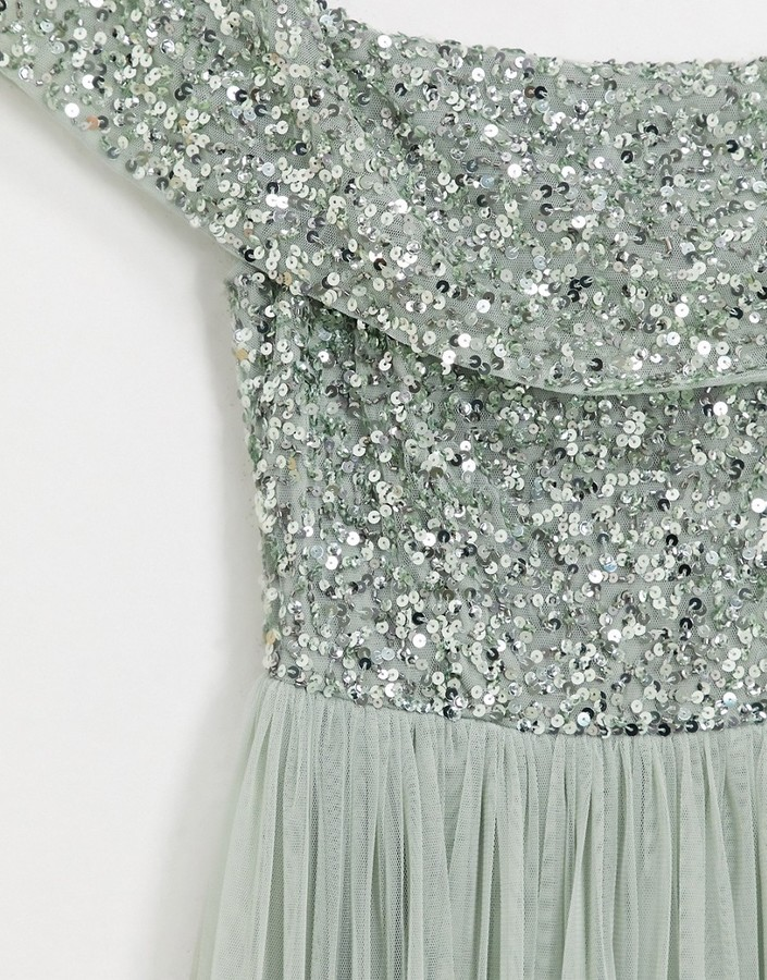 Thumbnail for your product : Maya Bridesmaid bardot maxi tulle dress with tonal delicate sequins in sage green