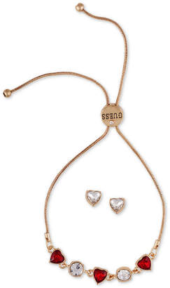 GUESS Crystal Heart Slider Bracelet & Stud Earring Gift Set