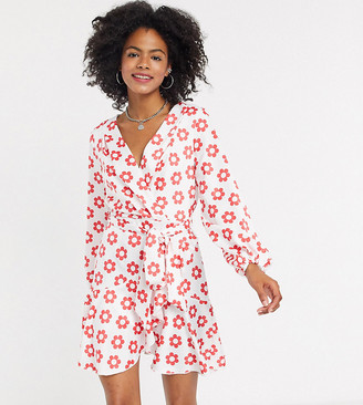 Twisted Wunder exclusive ruffle wrap mini in red retro daisy
