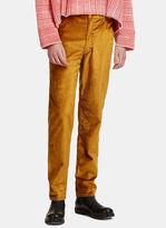Eckhaus Latta Straight Leg Metallic Velvet Jeans In Gold