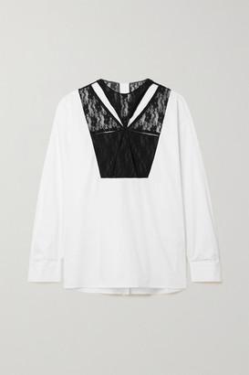 Christopher Kane Cutout Lace-paneled Cotton-poplin Shirt - White