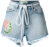 Off-White embroidered flower shorts - women - Cotton - 30