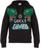 Gucci - Tiger Print Cotton Hooded Sweatshirt - Mens - Black Multi