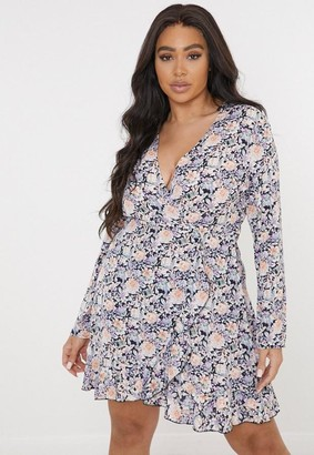 Missguided Plus Size Black Floral Print Wrap Ruffle Tea Dress