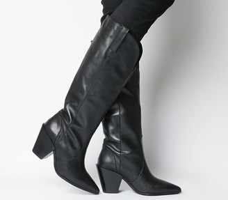 Office Kash Western Knee Boots Black Leather