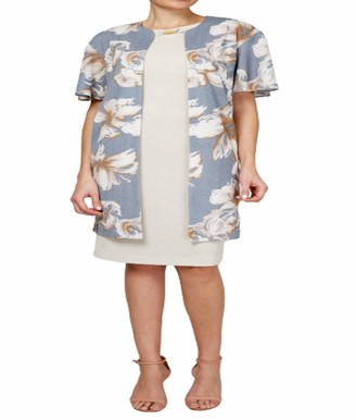 Maya Brooke Women's Floral Duster Jacket Dress with Bamboo Trim