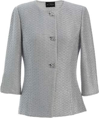 St. John Glitter Sequin Knit Jewel Neck &?#190; Sleeve Jacket