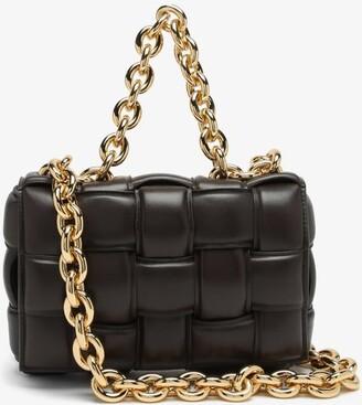 Bottega Veneta The Chain Cassette Intrecciato-leather Bag - Brown Gold