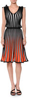 MSGM Sleeveless Striped Flare Jersey Dress, White/Black