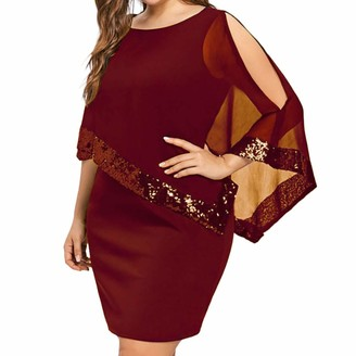 WAOTIER Plus Size Dresses Blouse Tops Womens Cold Shoulder Sequin Chiffon Sleeve Blouse Tunic Dresses Oversized Casual Evening Party Cocktail Swing Dress (5 Color
