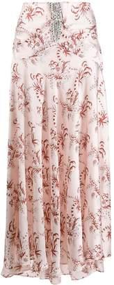 Paco Rabanne crystal-embellished floral print skirt