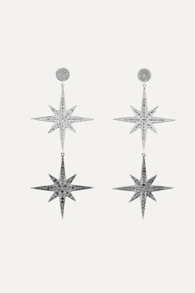 Sydney Evan Large Starburst 14-karat White Gold Diamond Earrings