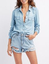 Charlotte Russe Chambray Pocket Button-Up Shirt