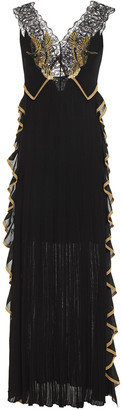 Roberto Cavalli Embellished Tulle-paneled Ruffled Crochet-knit Gown