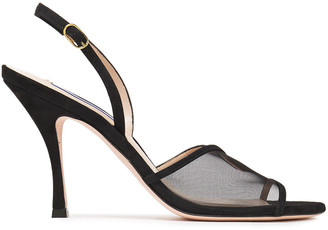 Stuart Weitzman Mesha 95 Suede And Mesh Slingback Sandals