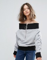 Daisy Street Off The Shoulder Zip Sweatshirt