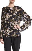 A.L.C. Cooper Long-Sleeve Floral Silk Top, Black
