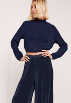 Missguided Pleated Turtle Neck Long Sleeve Crop Blouse Navy