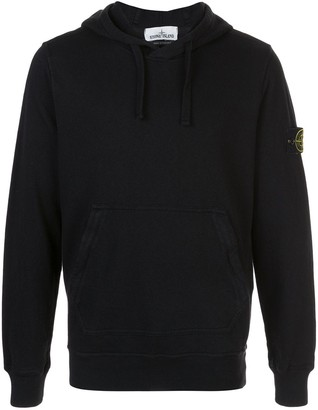 Stone Island Logo Patch Relaxed Fit Hoodie