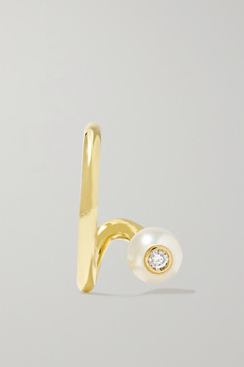 KatKim Crescendo Flare 14-karat Gold, Pearl And Diamond Ear Cuff - one size