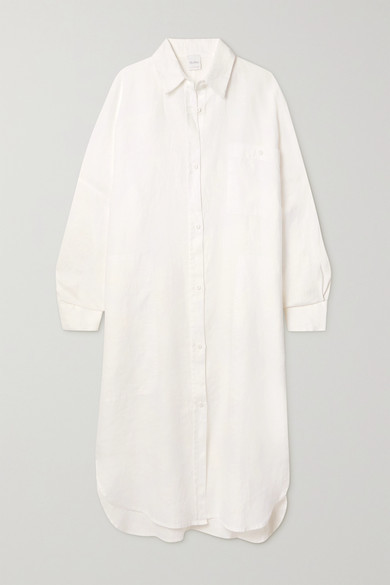 Max Mara + Leisure Procida Linen Shirt Dress - White