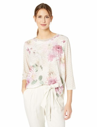 Alfred Dunner Women's Textured Floral Print Knit top with Novelty Neckline