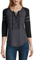 Freeze 3/4 Sleeve V Neck Minnie Mouse T-Shirt-Womens Juniors