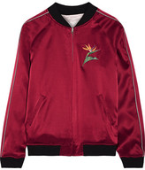 Opening Ceremony Reversible Embroidered Silk-satin Bomber Jacket - Claret