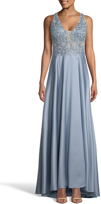 Xscape Evenings Embroidered Satin A-Line Gown