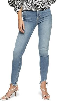 Topshop Jamie High Waist Jagged Hem Ankle Skinny Jeans
